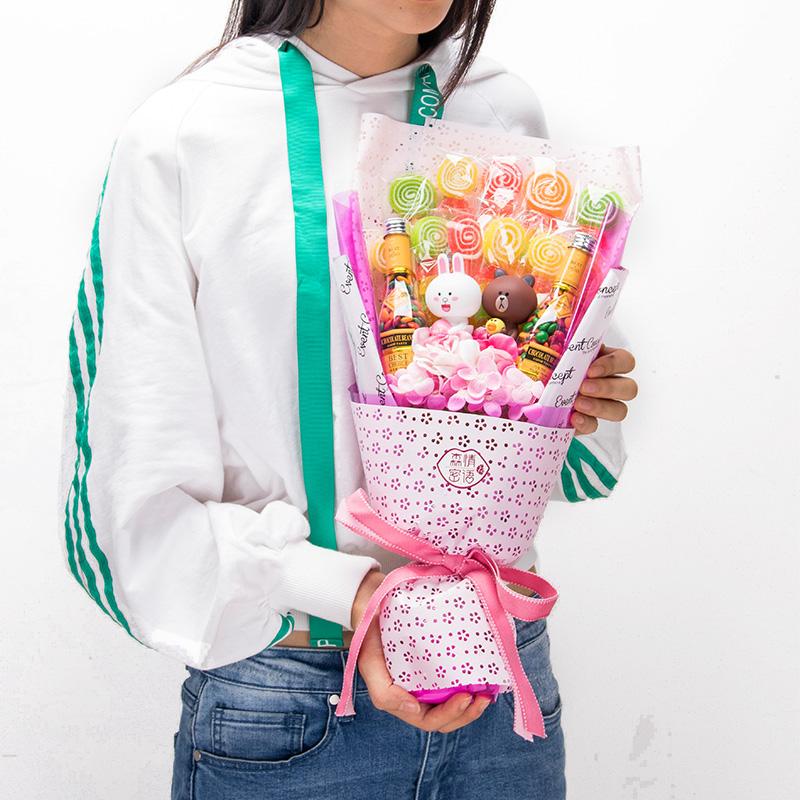 Lollipop Sóng Tấm Sô Cô La Đường Gấu Cub Phim Hoạt Hình Kẹo Bouquet Đồ Ăn Nhẹ Ngày Valentine Sinh Nhật Món Quà Tốt Nghiệp