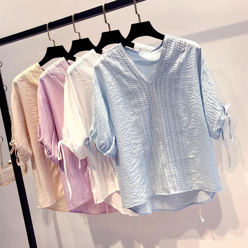 Ren hoang dã khâu v- cổ áo thun voan nữ ngắn tay mùa hè Hàn Quốc tính khí ngọn sang trọng hong kong hương vị nước ngoài áo sơ mi nhỏ