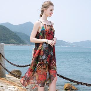 红之妆2019新款夏季宽松雪纺吊带连衣裙