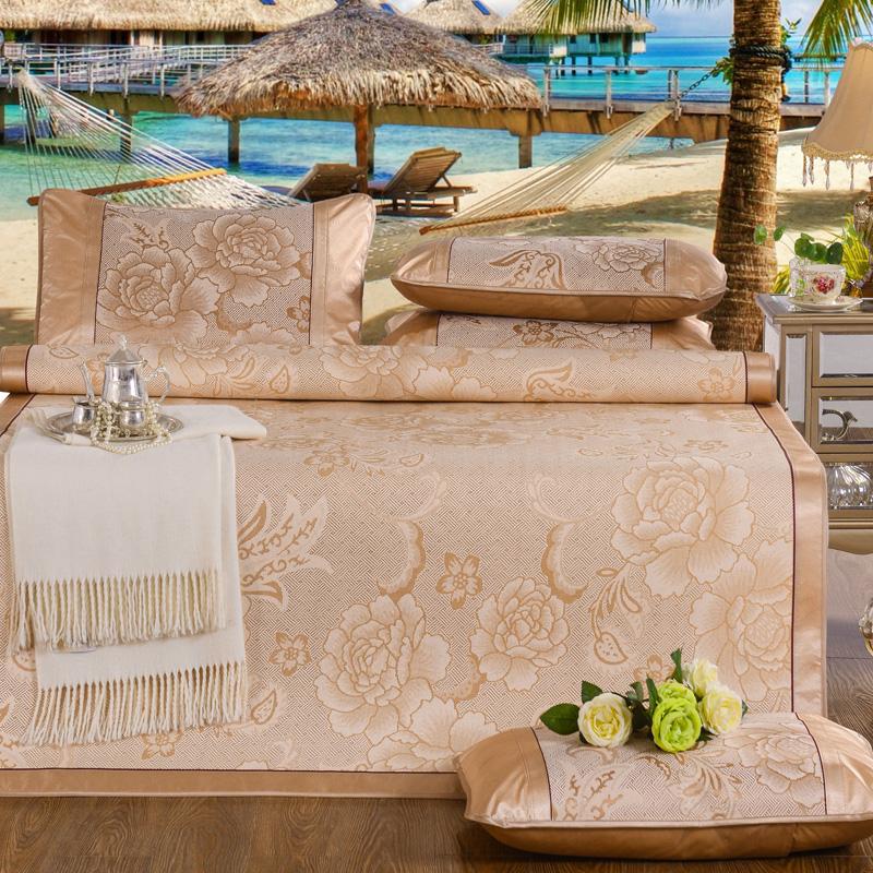 凉席冰丝席三件套1.8m床单夏季可折叠水洗1.5米夏天空调软席子1.2_领取50元淘宝优惠券