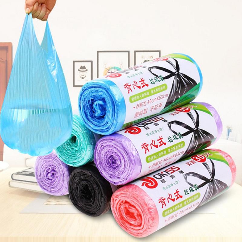 4卷装 加厚手提背心式垃圾袋厨房家用大号点断式环保垃圾袋塑料袋