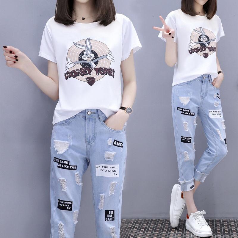 新款夏季韩版短袖短裤女两件套热销6件有赠品