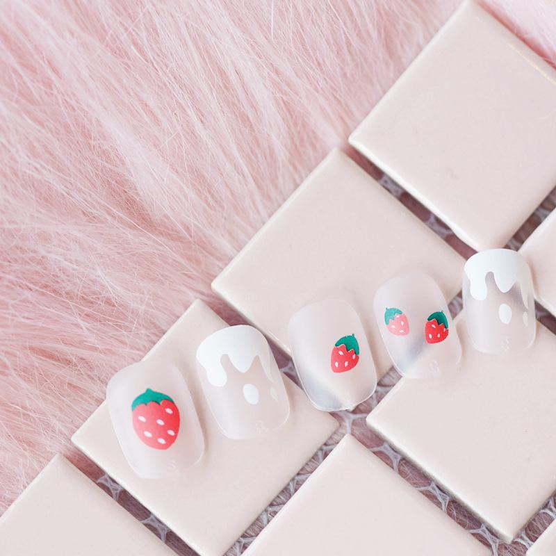 软妹少女ins网红同款草莓穿戴美甲成品假指甲美甲贴片磨砂成品甲