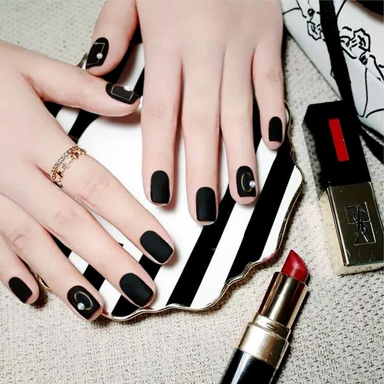穿戴美甲ins网红美甲贴片中长款黑色方头磨砂可摘戴假指甲成品片