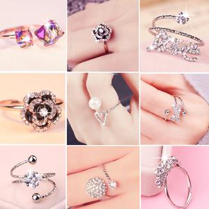 [Mua 2 tặng một miễn phí] Nhật Bản và Hàn Quốc kim cương zircon mở vòng nữ tính khí tính cách thủy triều người chỉ số ngón đeo nhẫn ...
