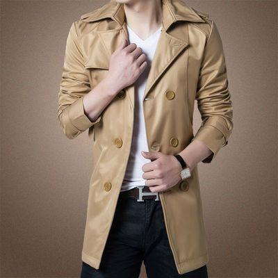 2016 mùa thu thanh niên đôi ngực mùa đông áo gió nam kích thước lớn phần dài cộng với nhung dày áo Người Anh nam Áo gió