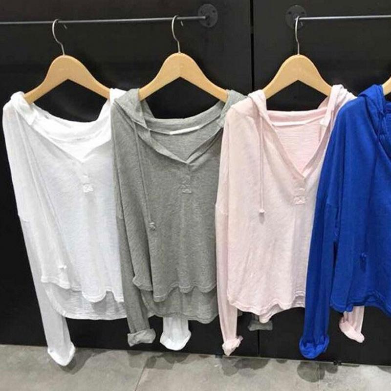 Hàn quốc Dongdaemun 2018 mùa hè mới màu rắn trùm đầu áo thun hoang dã áo len nữ dài tay áo mỏng kem chống nắng quần áo triều