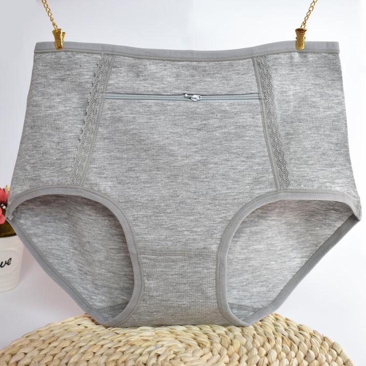 Quần lót chống trộm của phụ nữ trong vòng eo cao tam giác bông quần an toàn với dây kéo túi lớn túi đồ lót trung niên