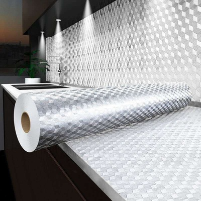 10米厨房防油贴纸耐高温自粘铝箔纸橱柜台面防水防潮墙贴壁纸加厚