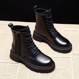 厚底馬丁靴新款加絨機車網紅短靴女春秋單靴