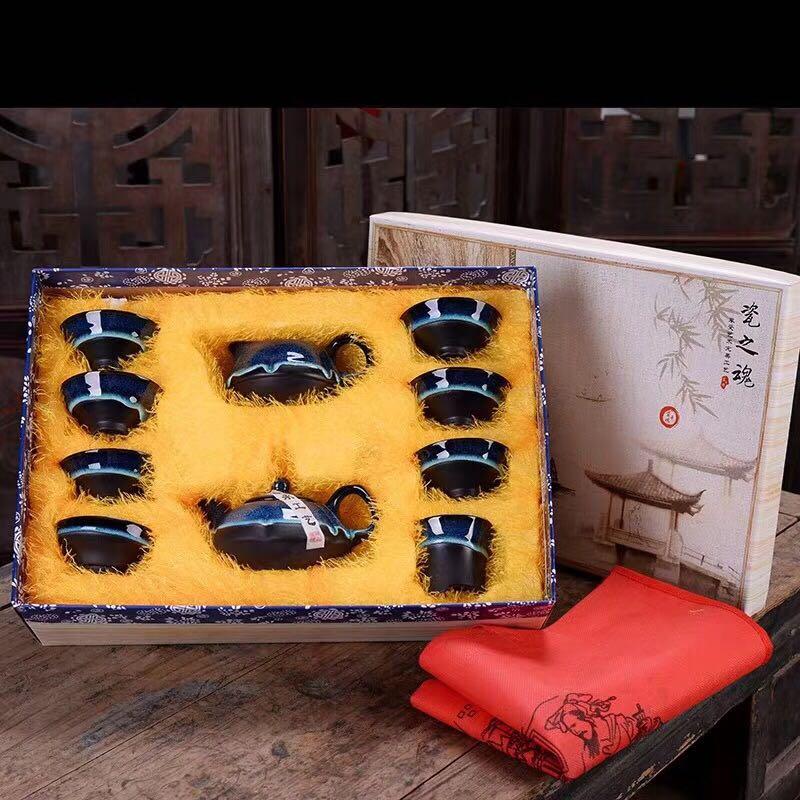 抖音同款:钧窑建盏茶具陶瓷套装-1