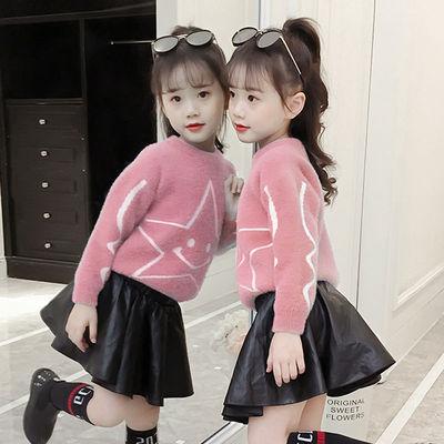 女童毛衣秋冬款加厚水貂绒针织衫2019新款童装韩版女孩套头打底衫