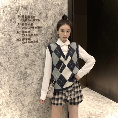 学院风针织毛衣马甲背心女秋季高腰格子半身裙套装新款两件套