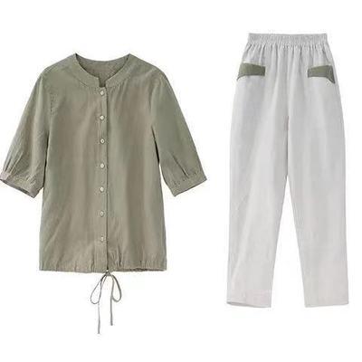 两件套装棉麻套装裤新款大码女装短袖上衣九分裤时尚两件套女