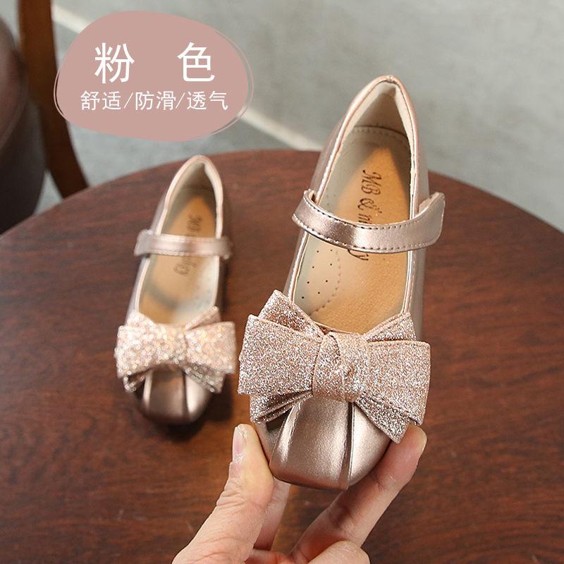 2021新款春款女童小皮鞋儿童软底浅口单鞋 小女孩时尚洋气公主鞋