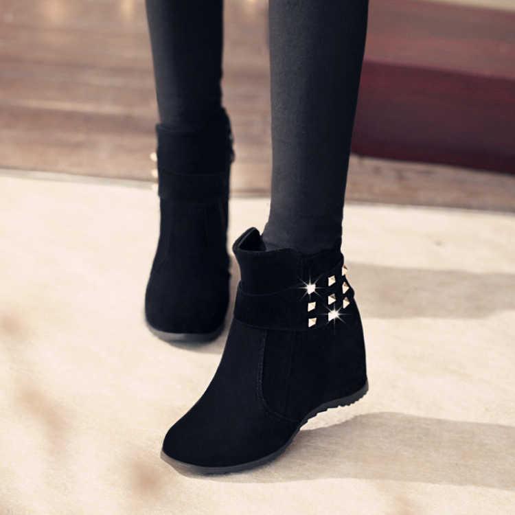 2019秋冬新款女靴子鉚釘內增高學生高跟短靴女春秋單靴保暖棉靴