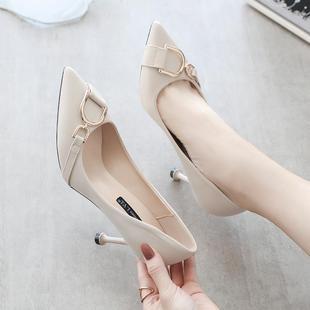 单鞋女正装皮鞋细跟高跟鞋女职业鞋