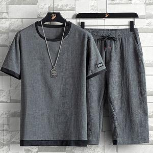 男士短袖t恤宽松2021新款夏季薄款亚麻套装韩版潮牌冰丝运动一套