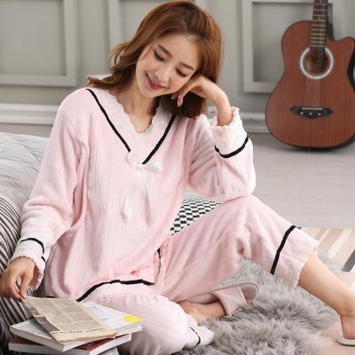 Mùa thu và mùa đông quần áo dày san hô lông cừu điều dưỡng đồ ngủ phụ nữ mang thai Tháng mười một sau tháng mười hai dịch vụ nhà flannel - Pyjama