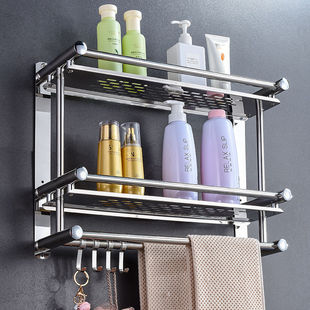 衞生間加厚免打孔廁所毛巾架不鏽鋼置物架
