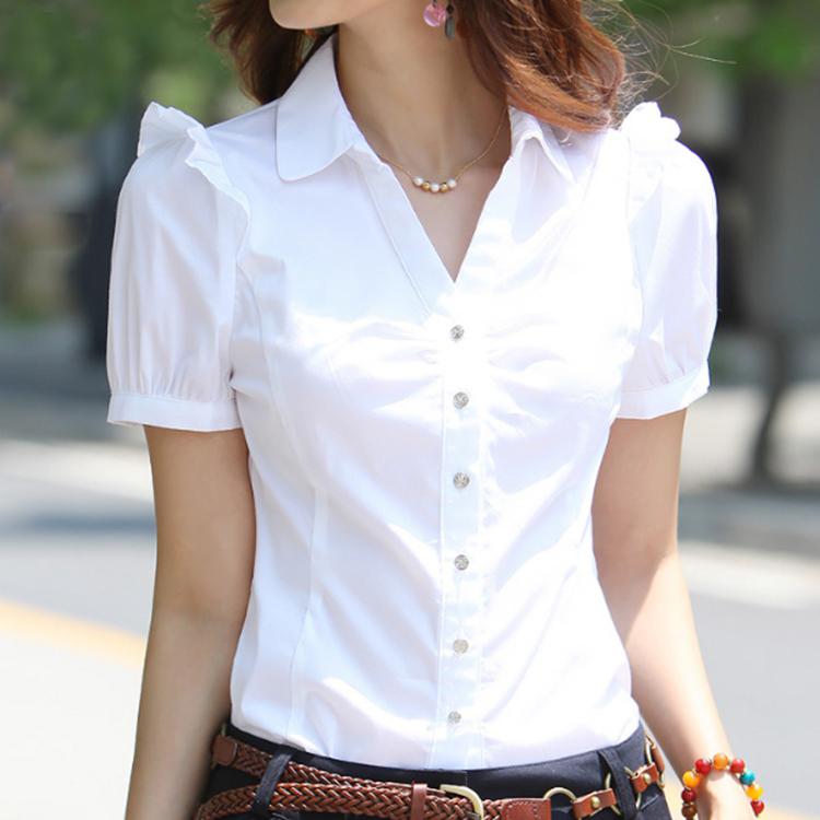 夏季V领职业女装正装短袖女衬衫工装女韩版白领工作服白衬衣