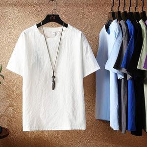 夏季短袖T恤男棉麻透气胖子潮宽松加肥加大码半袖上衣亚麻打底衫