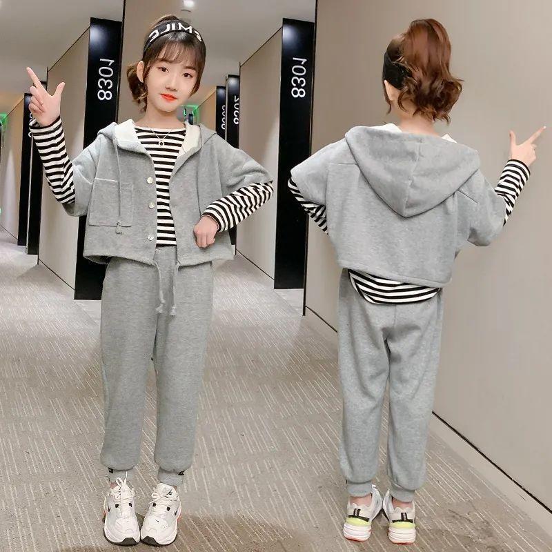 女童春秋新款套装中大童卫衣休闲运动三件套