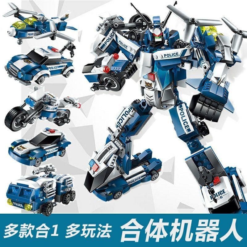 儿童拼图恐龙模型兼容乐高积木男女孩拼装合体变形机器人警察玩具