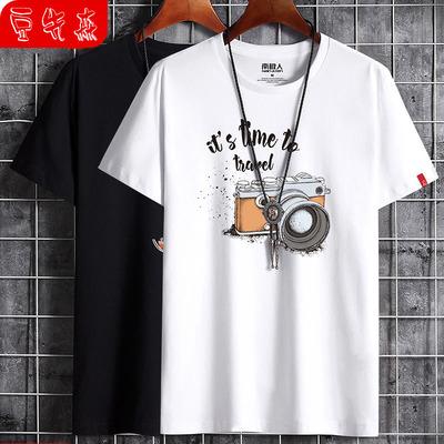 2020年春夏季100%纯棉时尚休闲男式短袖韩版t恤男半袖