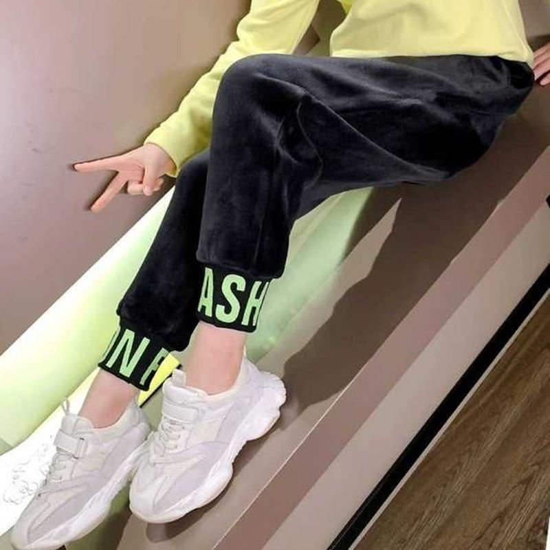 女童加绒裤秋冬装新款中大儿童韩版运动裤女孩洋气宽松保暖休闲裤