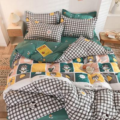 新款式时尚ins网红床单被套四件套床上用品 简约磨毛学生三件套