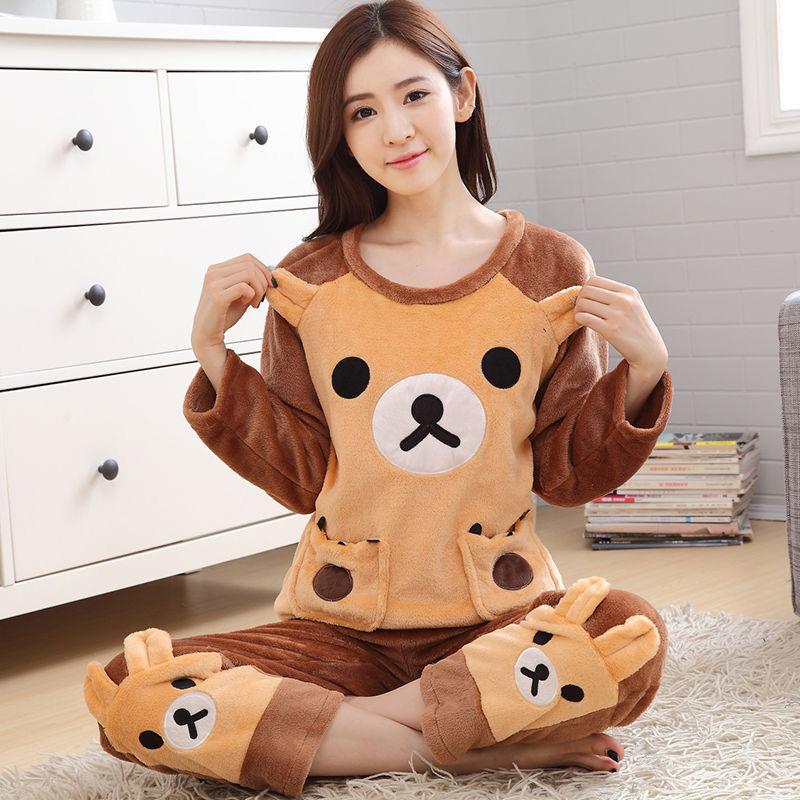 法兰绒睡衣女冬季加厚保暖套装秋冬珊瑚绒学生韩版可爱大码家居服