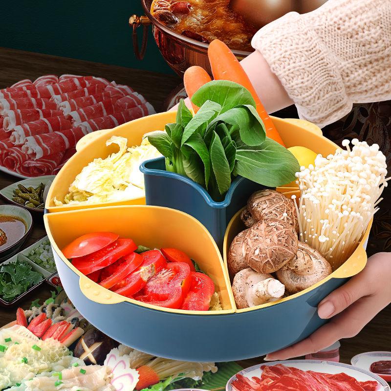 火锅盘蔬菜小拼盘菜盘子沥水篮家用收纳网红拼盘餐具装菜放菜神器
