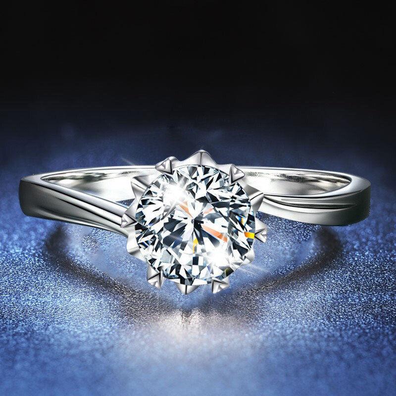 韩版ins银色仿真莫桑石戒指女不掉色情侣结婚求婚钻戒生日礼物