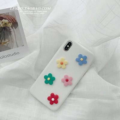 ins泫雅风软陶花朵iPhone7/8plus苹果x手机壳XS Max/XR皮质6s软壳