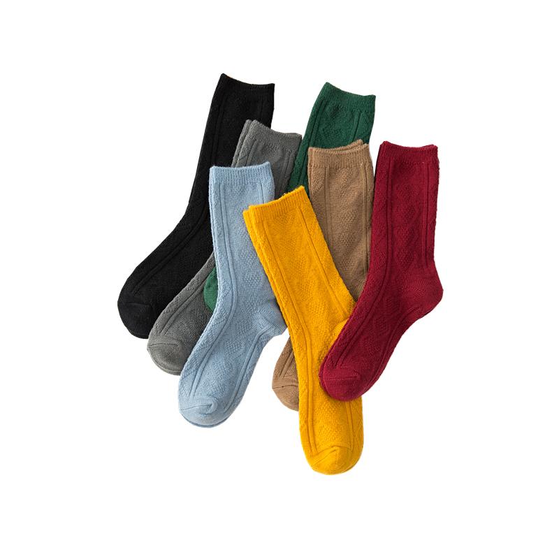 秋冬加厚保暖羊毛袜子女堆堆袜中筒袜