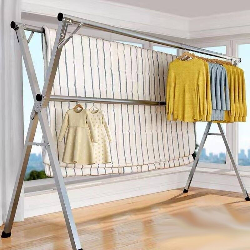 不锈钢晾衣架落地折叠室内外晒衣架双杆阳台