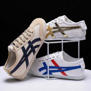 2021新款韩版运动鞋阿甘鞋男球鞋休闲帆布板鞋潮流百搭皮面小白鞋
