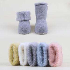 3双婴儿袜子加绒0-3岁加厚秋冬保暖6-12个月宝宝新生儿防滑地板袜
