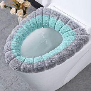 居家日用拼接色马桶垫棉线坐垫马桶圈