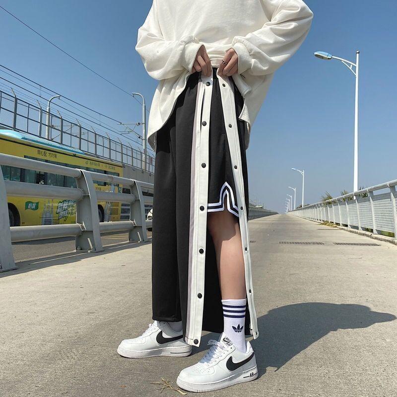 篮球训练裤春秋季休闲长裤全开扣束脚排扣宽松潮流高街NBA运动裤
