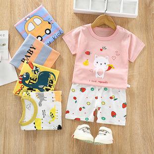 兒童短袖套裝純棉嬰兒衣服男童短褲女童半袖