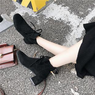 黑色绒面方头短靴女马丁靴复古中跟
