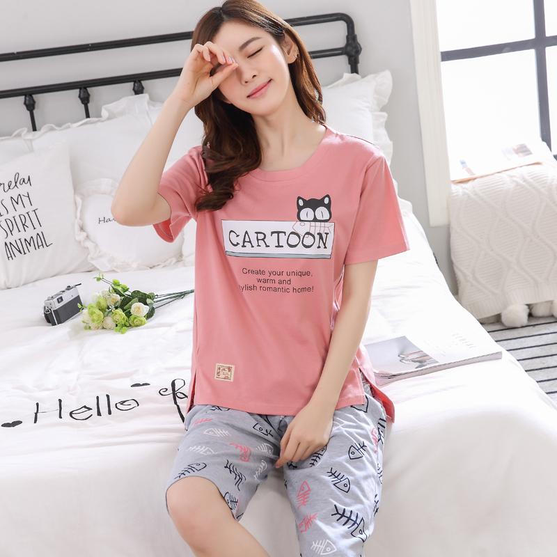 女神睡衣韩版短袖+七分裤套装优惠20元包邮