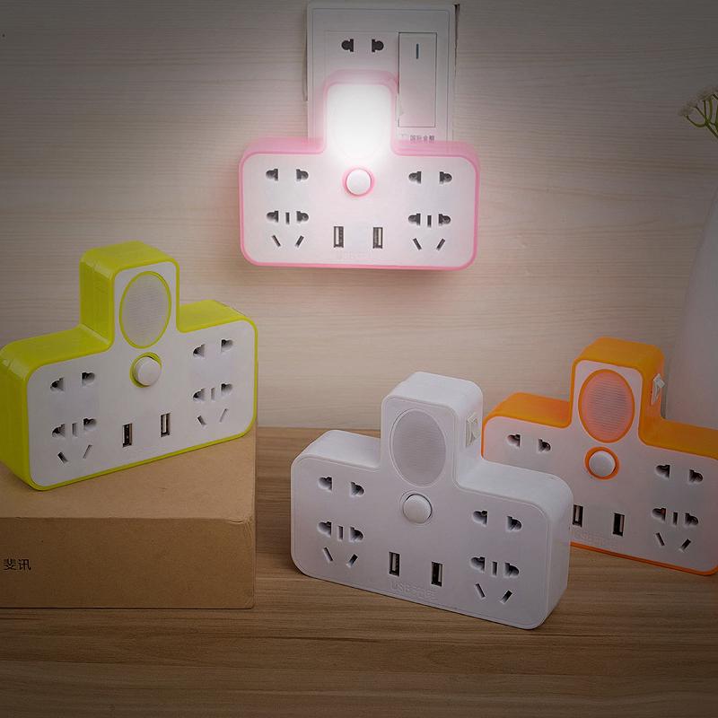 家用插座转换器一转二三四多功能转换插头usb插排插板带夜灯无线_领取20元淘宝优惠券