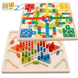Đa chức năng lớn cờ bay cờ vua hai-trong-một đồ chơi bằng gỗ trẻ em của trí tuệ điện lớn cờ vua ban trò chơi