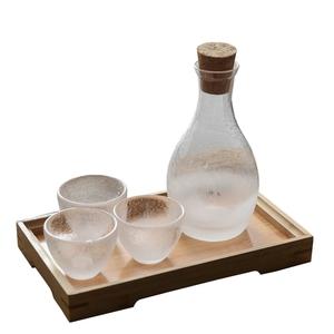 鑫雅居 日式云雾清酒具套装锤目纹家用白酒玻璃酒壶温酒壶米酒杯