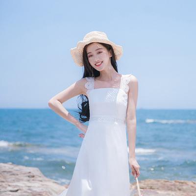 夏季新款女装修身显瘦沙滩裙雪纺吊带背心海边度假连衣裙长裙裙子
