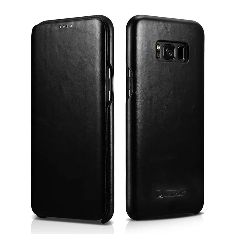iCarer Curved Edge Vintage Series Side Open Handmade Genuine Cowhide Leather Case Cover for Samsung Galaxy S8 Plus & Galaxy S8
