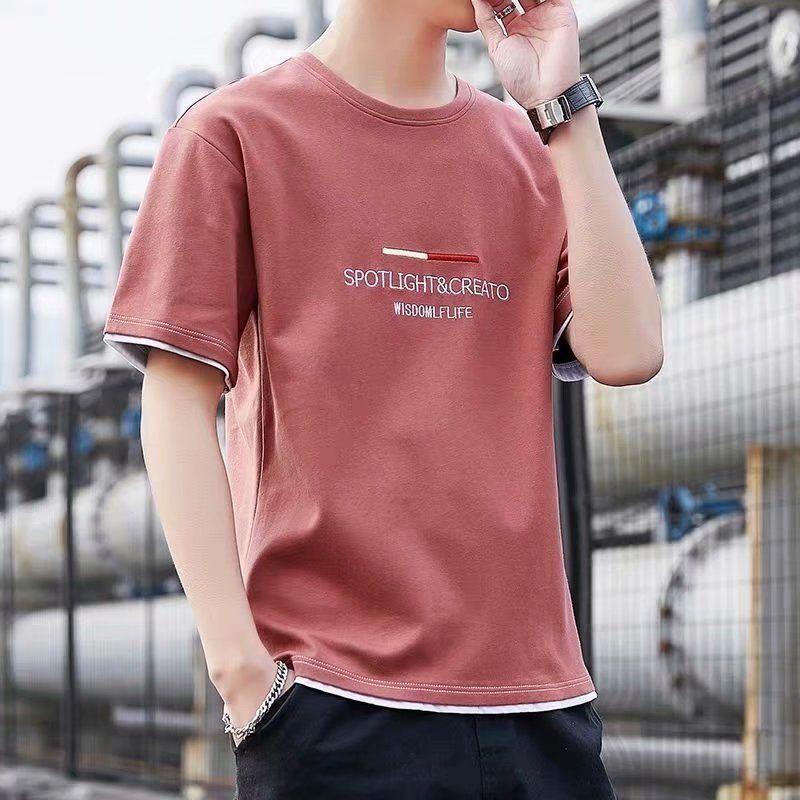 夏季男士薄款短袖T恤男韩版印花圆领体恤上衣男装夏